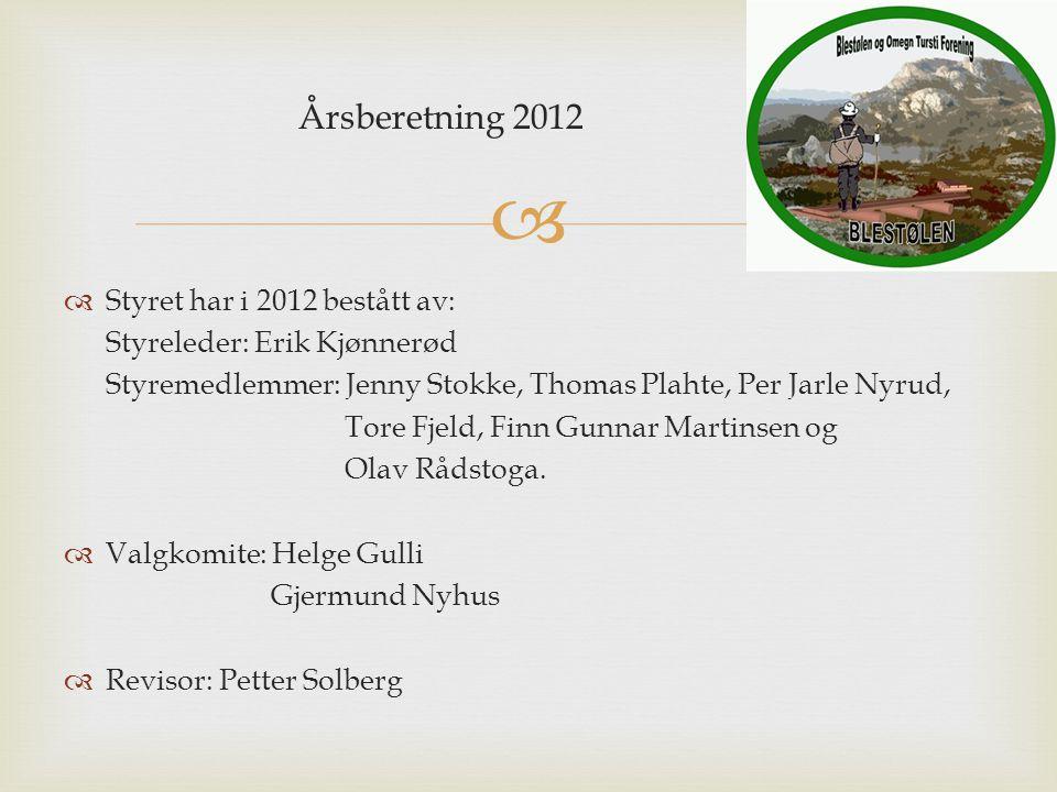 Årsberetning 2012  Styret har i 2012 bestått av: Styreleder: Erik Kjønnerød Styremedlemmer: Jenny Stokke, Thomas Plahte, Per Jarle Nyrud, Tore Fjeld, Finn Gunnar Martinsen og Olav Rådstoga.