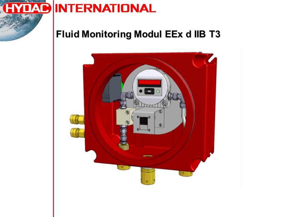 Technical data Type: FMM Ex-Atex Media: mineral oil, natural and synthetic esthers Protection class: Zone 1 - II 2 G – EEx d IIB T3 Power Supply: 230 VAC – 1 fas CONTAMINATION SENSOR Type: CS1000 Contamination code: ISO 4406:1999 ; SAE AS 4059 / >4µm, >6µm, >14µm, >21µm Measuring range: Display from class ISO 7/6/5 (MIN) to class ISO 28/27/26 (MAX) Calibbrated within the range ISO 13/11/10…23/21/18 Calibbrated within the range ISO 13/11/10…23/21/18 Accuracy: +/- ½ ISO class in the calibrated class Operating pressure: 300 bar max Permissible mearurement flow rate: 30…300 ml/min Digital interface: RS 485 Analog interface: 4…20 mA Limit switching output: 1 AQUA SENSOR Type: AS1000 Measuring range (saturation level): 0…100 % relative to the saturation concentration and output the degree of saturation level.