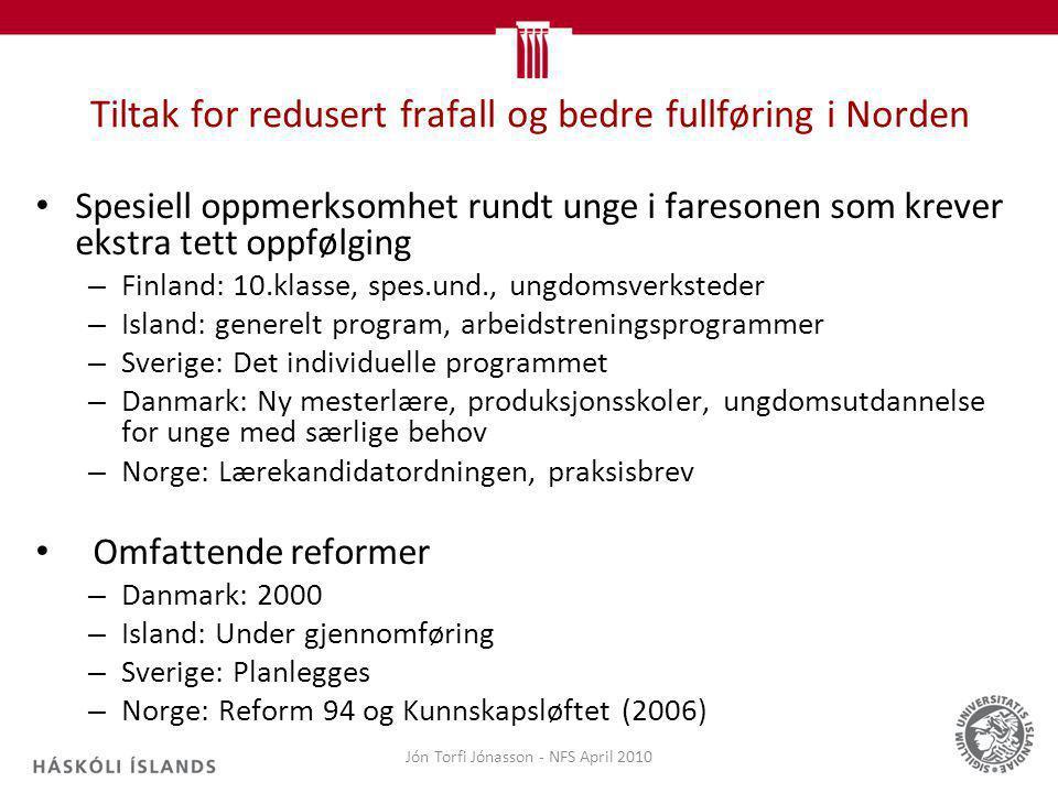 Tiltak for redusert frafall og bedre fullføring i Norden Spesiell oppmerksomhet rundt unge i faresonen som krever ekstra tett oppfølging – Finland: 10