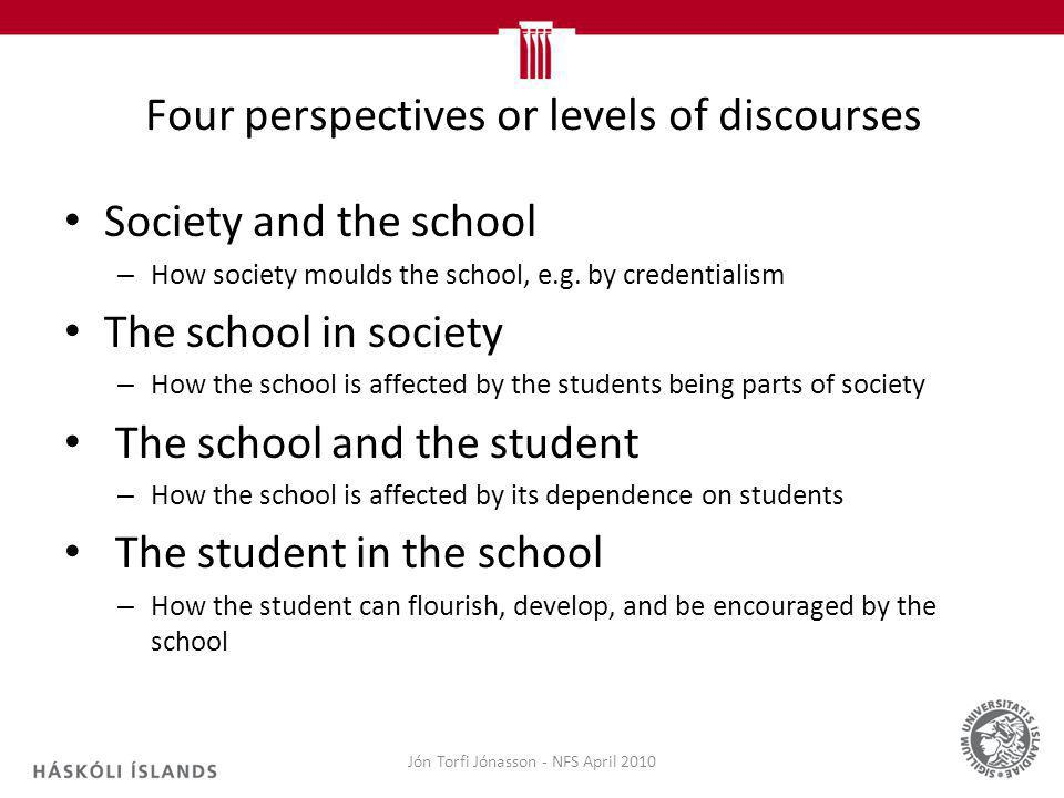Four perspectives or levels of discourses Society and the school – How society moulds the school, e.g.