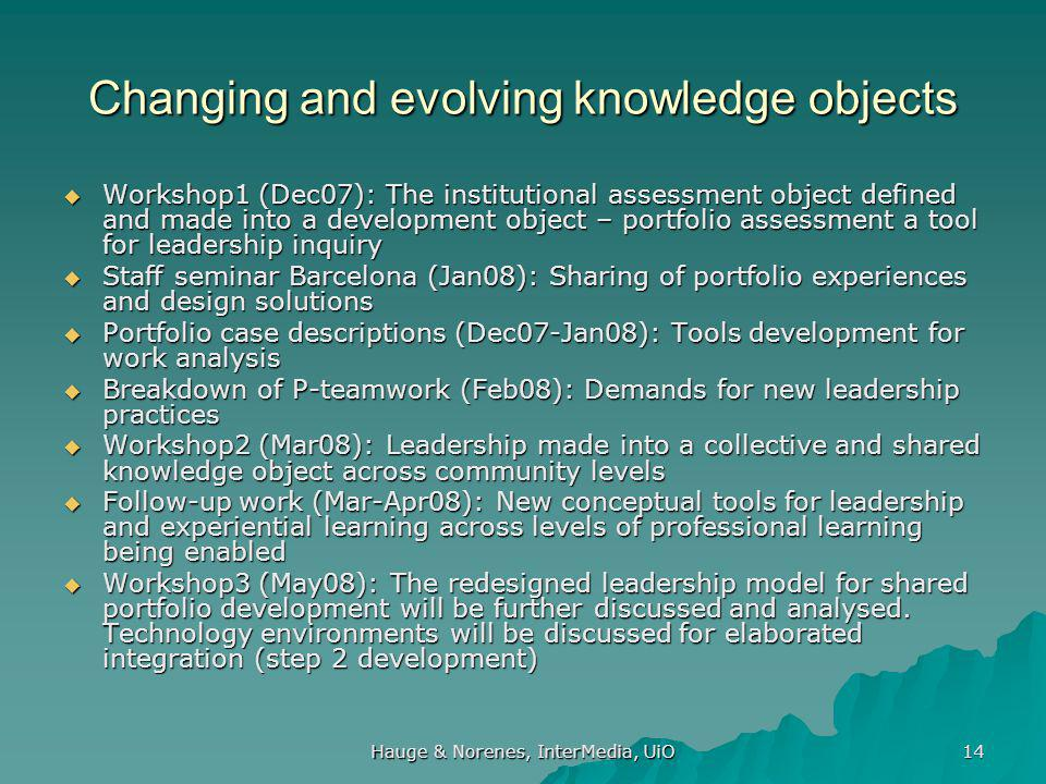 Hauge & Norenes, InterMedia, UiO 14 Changing and evolving knowledge objects  Workshop1 (Dec07): The institutional assessment object defined and made into a development object – portfolio assessment a tool for leadership inquiry  Staff seminar Barcelona (Jan08): Sharing of portfolio experiences and design solutions  Portfolio case descriptions (Dec07-Jan08): Tools development for work analysis  Breakdown of P-teamwork (Feb08): Demands for new leadership practices  Workshop2 (Mar08): Leadership made into a collective and shared knowledge object across community levels  Follow-up work (Mar-Apr08): New conceptual tools for leadership and experiential learning across levels of professional learning being enabled  Workshop3 (May08): The redesigned leadership model for shared portfolio development will be further discussed and analysed.
