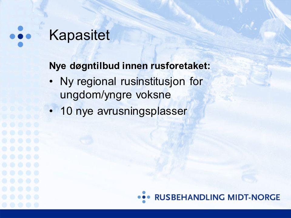 Kapasitet Nye døgntilbud innen rusforetaket: Ny regional rusinstitusjon for ungdom/yngre voksne 10 nye avrusningsplasser