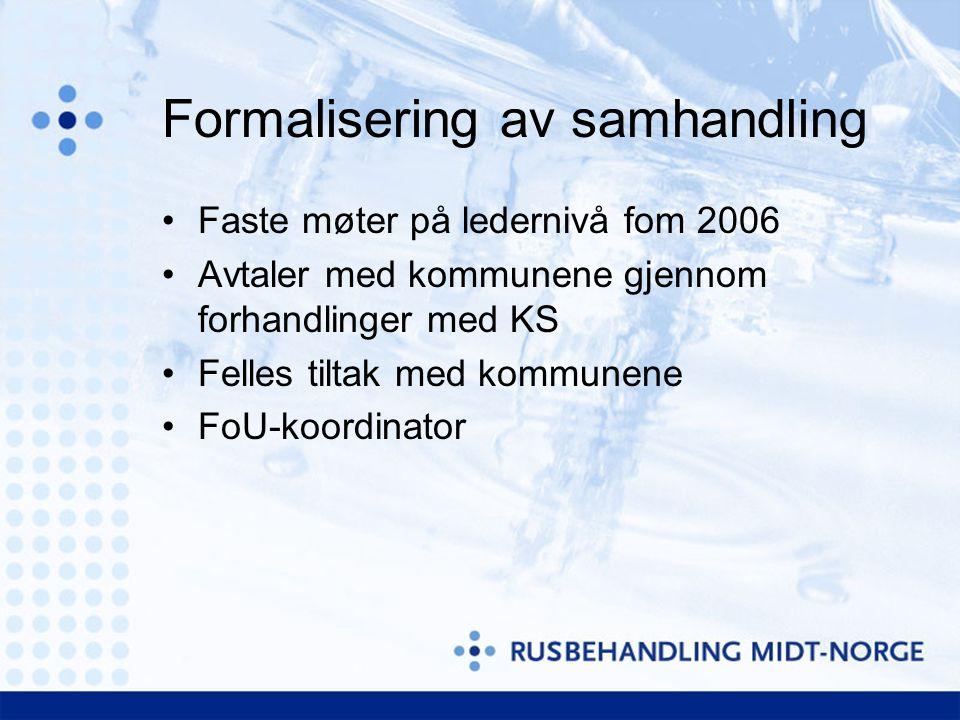 Formalisering av samhandling Faste møter på ledernivå fom 2006 Avtaler med kommunene gjennom forhandlinger med KS Felles tiltak med kommunene FoU-koordinator