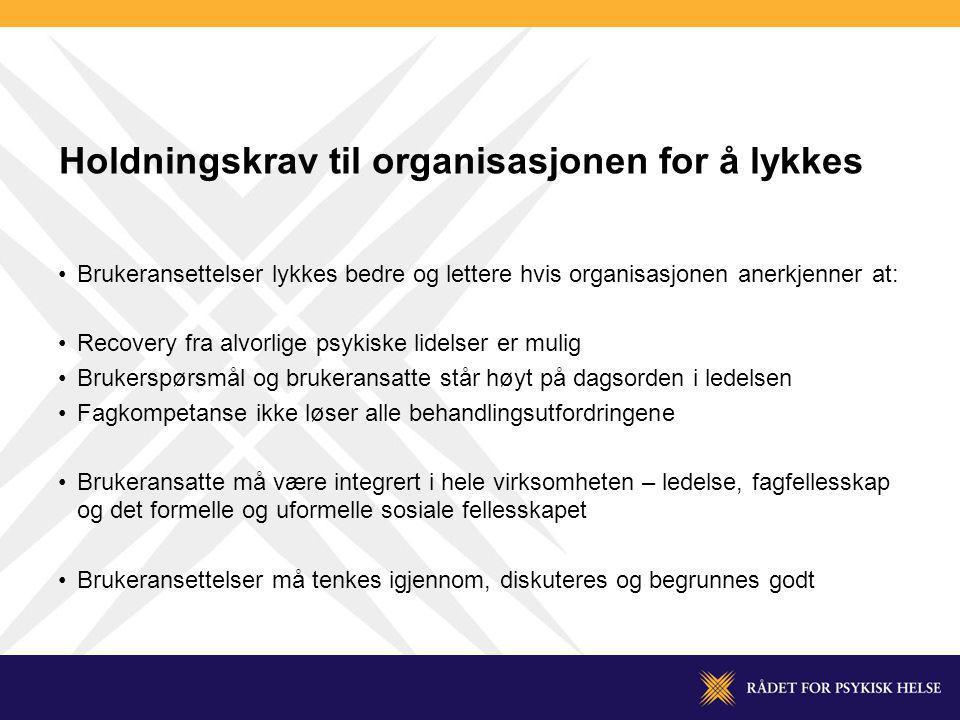Holdningskrav til organisasjonen for å lykkes Brukeransettelser lykkes bedre og lettere hvis organisasjonen anerkjenner at: Recovery fra alvorlige psy