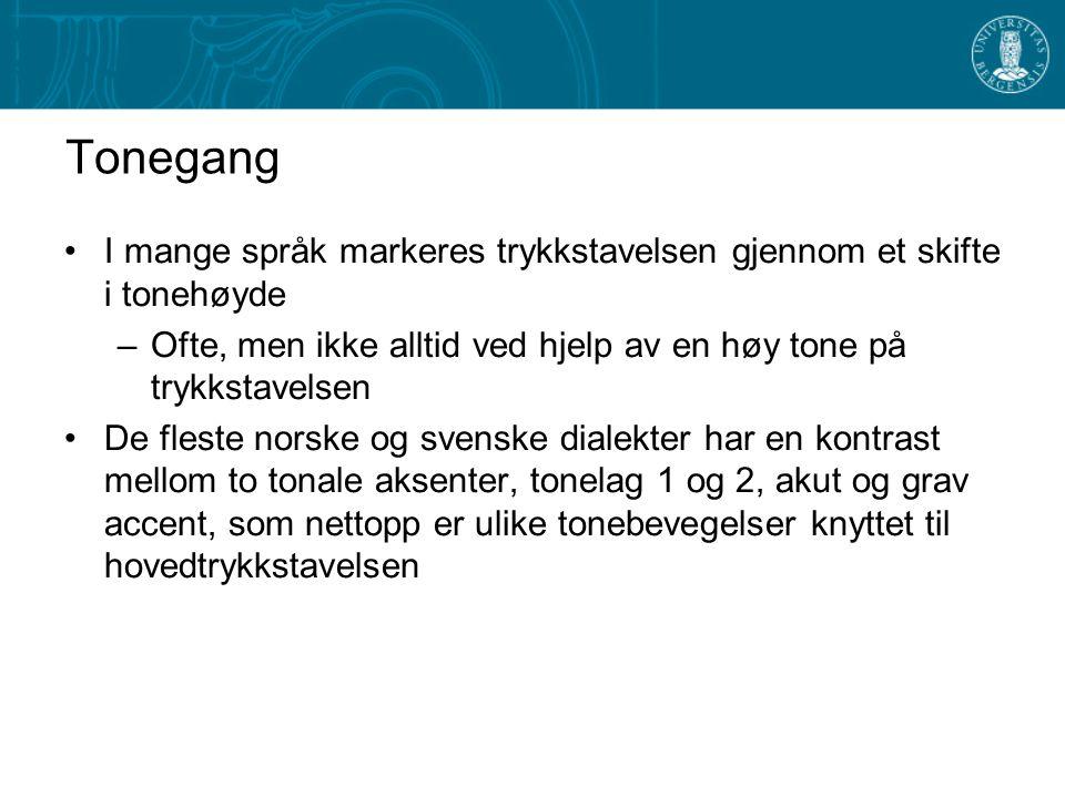 Stavelsesvekt 2 I de fleste norske og svenske dialekter er det et unntaksløst krav at trykkstavelser skal være tunge –Dette kravet er et resultat av k
