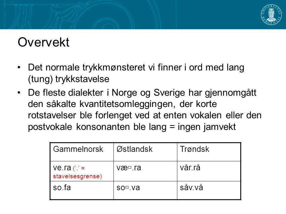 Hva er jamvekt? Et fenomen vi finner i svenske og norske dialekter der korte, trykksterke stavelser (rotstavelsen) ikke er blitt forlenget gjennom den