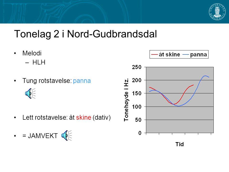 Tonelag 1 i Nord-Gudbrandsdal Melodi: –LH Tung rotstavelse: fonna Lett rotstavelse: skinet