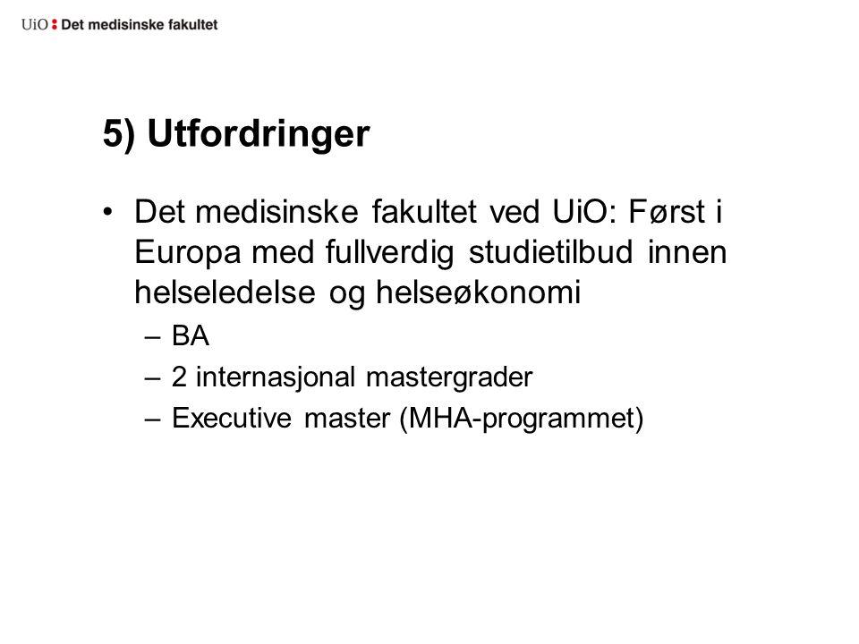5) Utfordringer Det medisinske fakultet ved UiO: Først i Europa med fullverdig studietilbud innen helseledelse og helseøkonomi –BA –2 internasjonal mastergrader –Executive master (MHA-programmet)