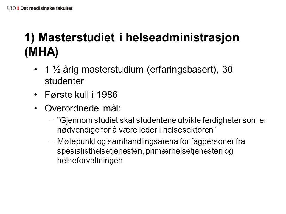 """1) Masterstudiet i helseadministrasjon (MHA) 1 ½ årig masterstudium (erfaringsbasert), 30 studenter Første kull i 1986 Overordnede mål: –""""Gjennom stud"""