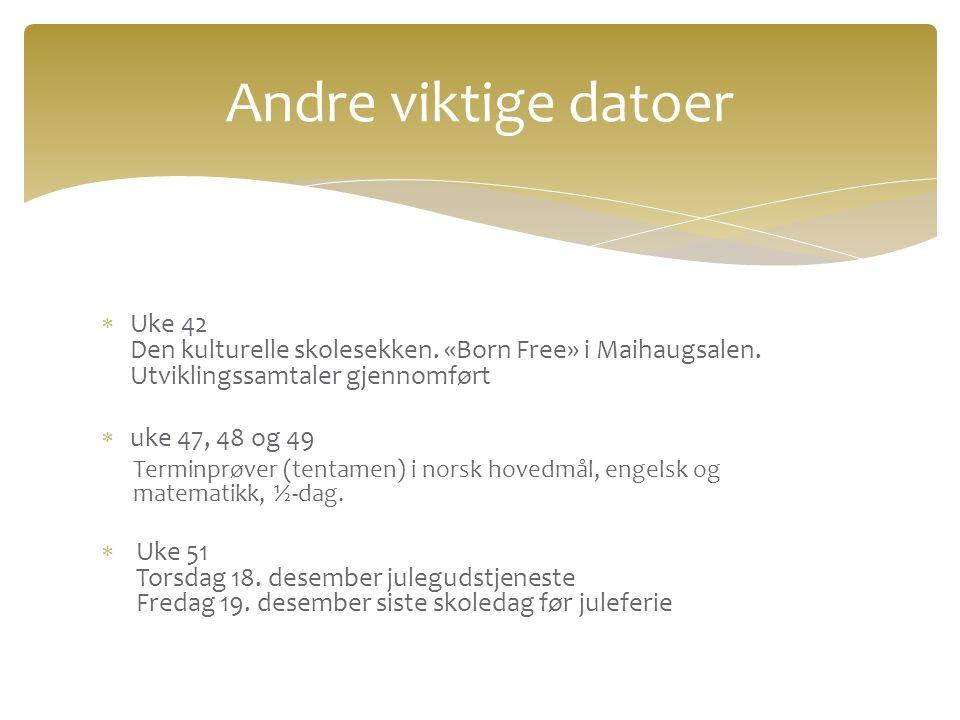  Uke 42 Den kulturelle skolesekken. «Born Free» i Maihaugsalen. Utviklingssamtaler gjennomført  uke 47, 48 og 49 Terminprøver (tentamen) i norsk hov