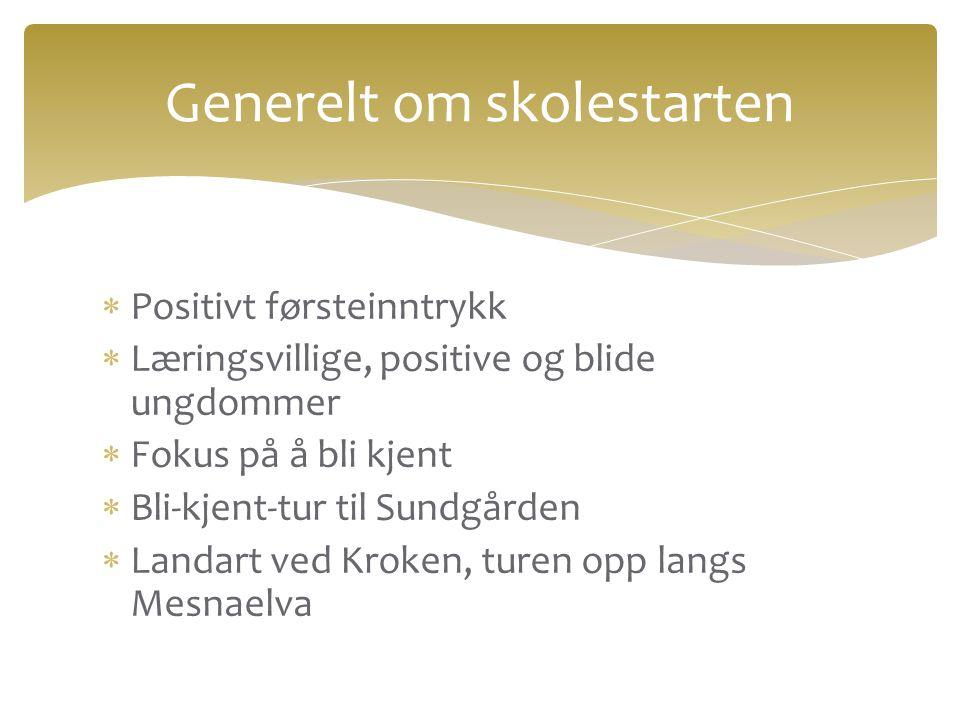  Positivt førsteinntrykk  Læringsvillige, positive og blide ungdommer  Fokus på å bli kjent  Bli-kjent-tur til Sundgården  Landart ved Kroken, tu