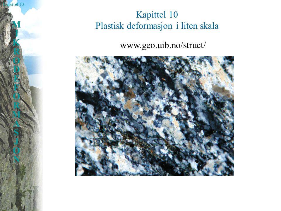 Kapittel 10 MIKRODEFORMASJONMIKRODEFORMASJON Plastisk deformasjon i liten skala www.geo.uib.no/struct/