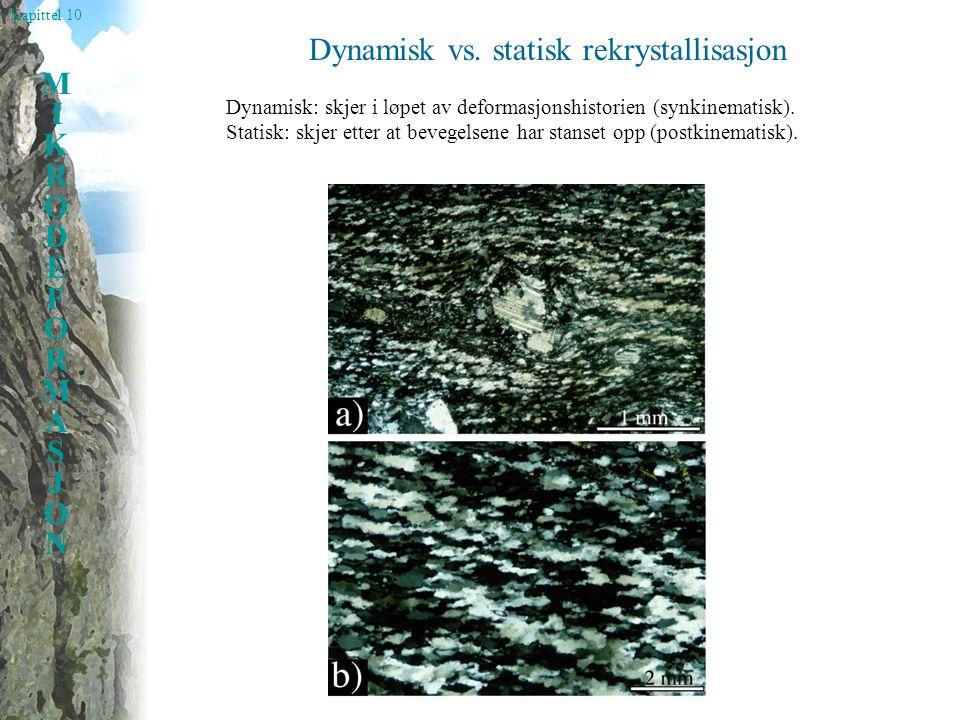 Kapittel 10 MIKRODEFORMASJONMIKRODEFORMASJON Dynamisk vs. statisk rekrystallisasjon Dynamisk: skjer i løpet av deformasjonshistorien (synkinematisk).