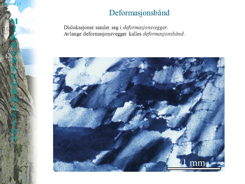 Kapittel 10 MIKRODEFORMASJONMIKRODEFORMASJON Deformasjonsbånd Dislokasjoner samler seg i deformasjonsvegger. Avlange deformasjonsvegger kalles deforma