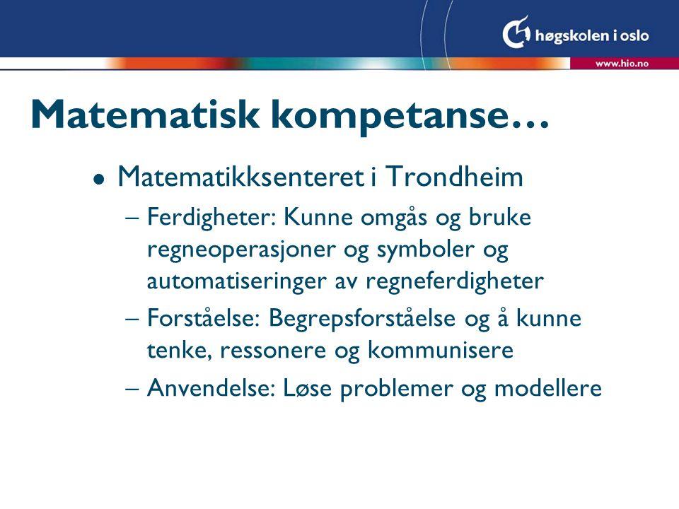 Matematisk kompetanse Forståelse Ferdighet Anvendelse ForståelseFerdigheter Problemløsnings kompetanse Modellerings kompetanse Resonnement kompetanse Tankegangs kompetanse Representasjons kompetanse Symbol– og formalisme kompetanse HjelpeMiddelKompetanse (http://www.matematikksenteret.no/content.ap?thisId=635)