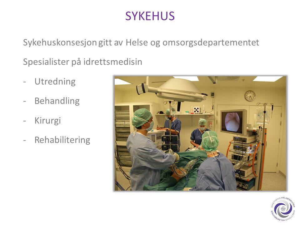 SYKEHUS Sykehuskonsesjon gitt av Helse og omsorgsdepartementet Spesialister på idrettsmedisin -Utredning -Behandling -Kirurgi -Rehabilitering