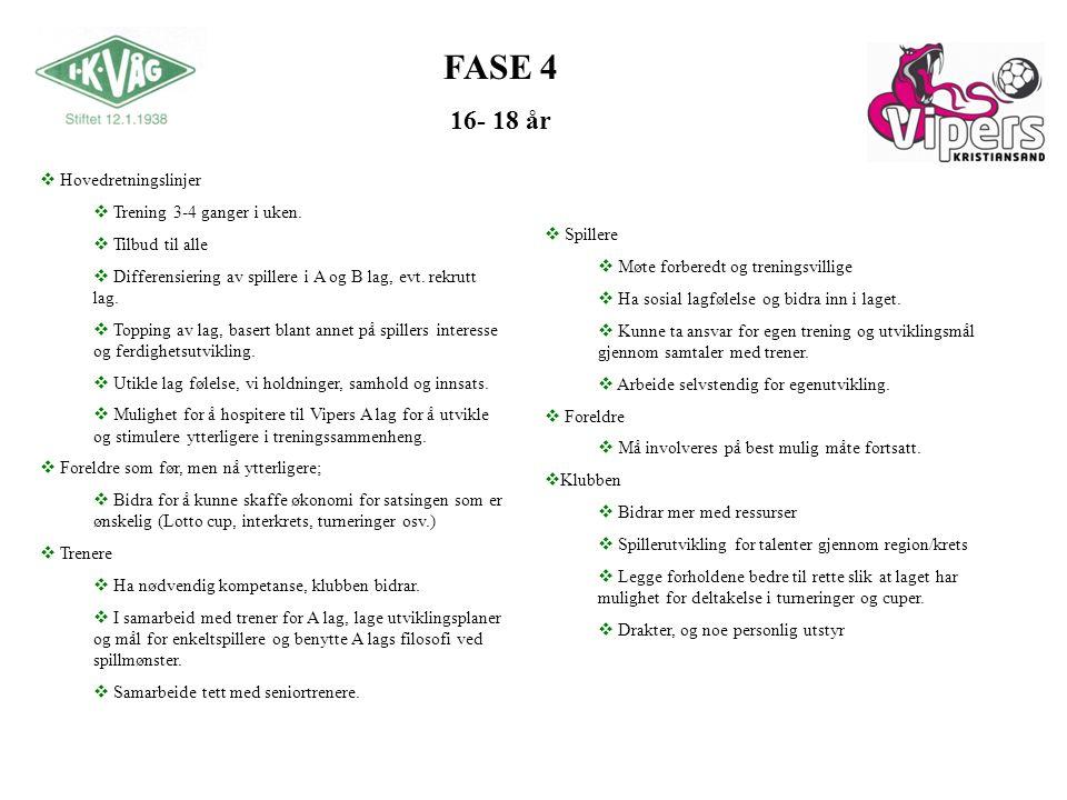FASE 4 16- 18 år  Spillere  Møte forberedt og treningsvillige  Ha sosial lagfølelse og bidra inn i laget.