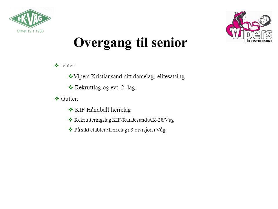 Overgang til senior  Jenter:  Vipers Kristiansand sitt damelag, elitesatsing  Rekruttlag og evt.