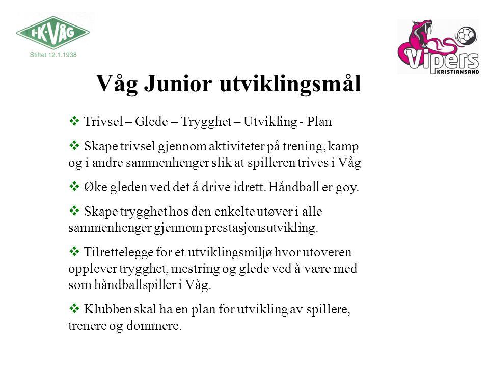 Våg Junior utviklingsmål  Trivsel – Glede – Trygghet – Utvikling - Plan  Skape trivsel gjennom aktiviteter på trening, kamp og i andre sammenhenger slik at spilleren trives i Våg  Øke gleden ved det å drive idrett.