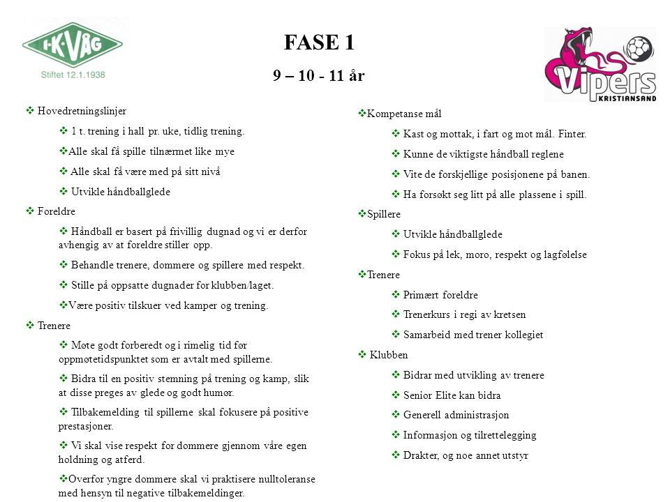 FASE 1 9 – 10 - 11 år  Kompetanse mål  Kast og mottak, i fart og mot mål.