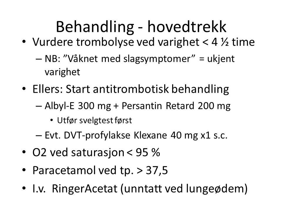 Behandling - hovedtrekk Vurdere trombolyse ved varighet < 4 ½ time – NB: Våknet med slagsymptomer = ukjent varighet Ellers: Start antitrombotisk behandling – Albyl-E 300 mg + Persantin Retard 200 mg Utfør svelgtest først – Evt.