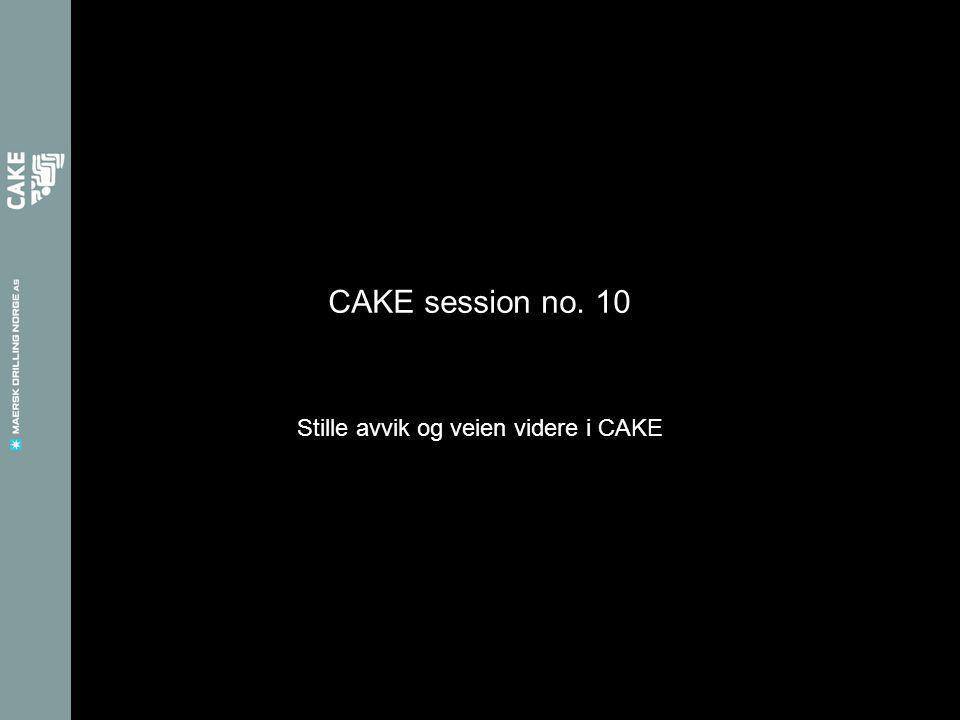 CAKE session no. 10 Stille avvik og veien videre i CAKE