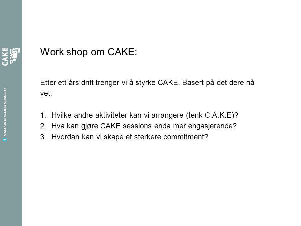 Work shop om CAKE: Etter ett års drift trenger vi å styrke CAKE.