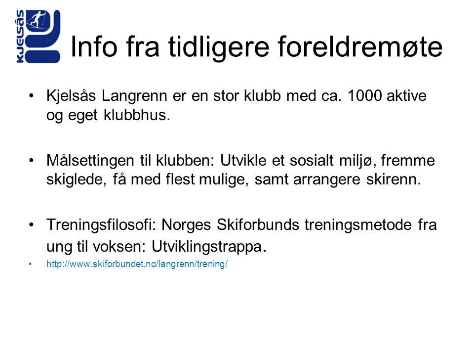 Info fra tidligere foreldremøte Kjelsås Langrenn er en stor klubb med ca. 1000 aktive og eget klubbhus. Målsettingen til klubben: Utvikle et sosialt m