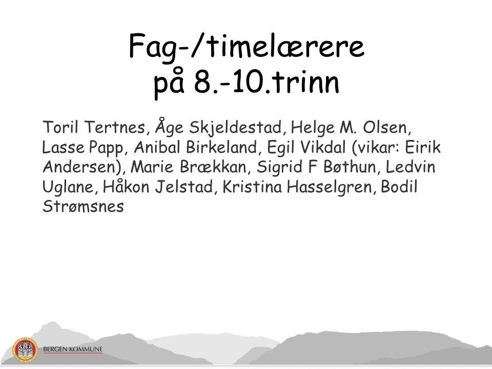 Fag-/timelærere på 8.-10.trinn Toril Tertnes, Åge Skjeldestad, Helge M. Olsen, Lasse Papp, Anibal Birkeland, Egil Vikdal (vikar: Eirik Andersen), Mari