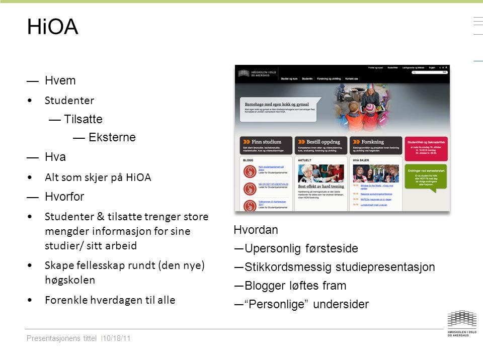 Presentasjonens tittel10/18/11 HiOA —Hvem Studenter —Tilsatte — Eksterne —Hva Alt som skjer på HiOA —Hvorfor Studenter & tilsatte trenger store mengde
