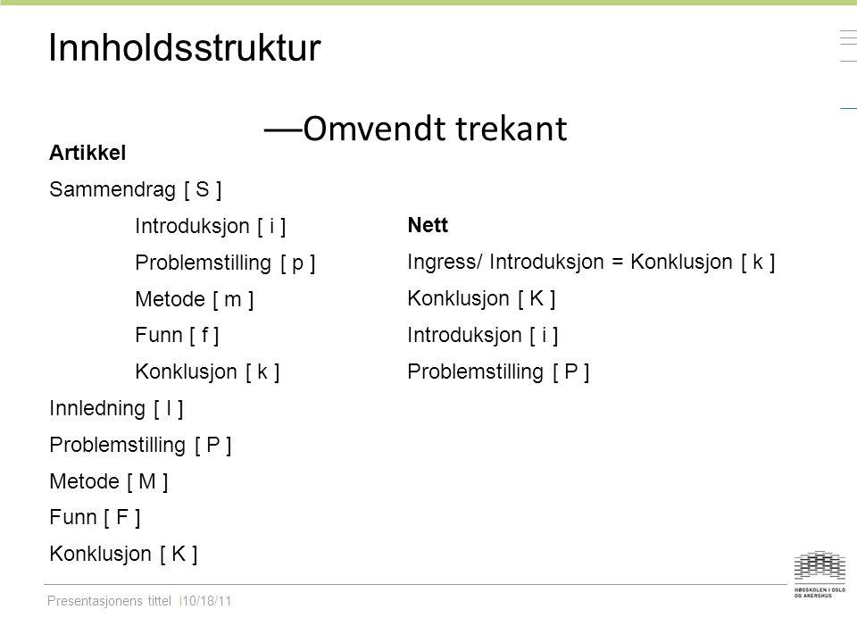 Presentasjonens tittel10/18/11 Innholdsstruktur — Omvendt trekant Artikkel Sammendrag [ S ] Introduksjon [ i ] Problemstilling [ p ] Metode [ m ] Funn [ f ] Konklusjon [ k ] Innledning [ I ] Problemstilling [ P ] Metode [ M ] Funn [ F ] Konklusjon [ K ] Nett Ingress/ Introduksjon = Konklusjon [ k ] Konklusjon [ K ] Introduksjon [ i ] Problemstilling [ P ]