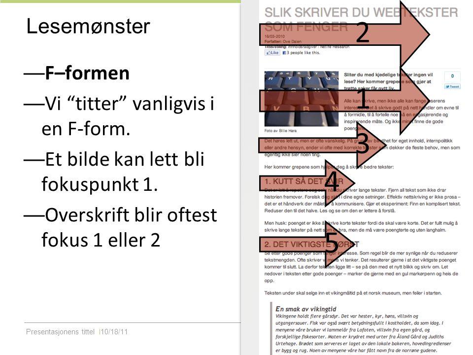 Presentasjonens tittel10/18/11 Lesbarhet og lengde — Sider kan være lange — Avsnitt må ikke være lange — Dersom siden er godt strukturert, leser vi gjerne lange sekvenser på nett.