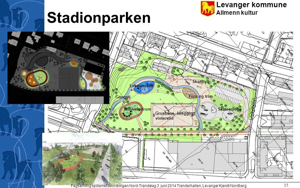 Levanger kommune Allmenn kultur Stadionparken Skateanlegg Grusbane, islegging vinterstid Skotthyll Turn og trim Gangsti Minivelodrom Lekeområde Fagsam