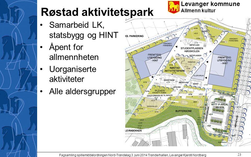 Levanger kommune Allmenn kultur Røstad aktivitetspark Samarbeid LK, statsbygg og HINT Åpent for allmennheten Uorganiserte aktiviteter Alle aldersgrupp