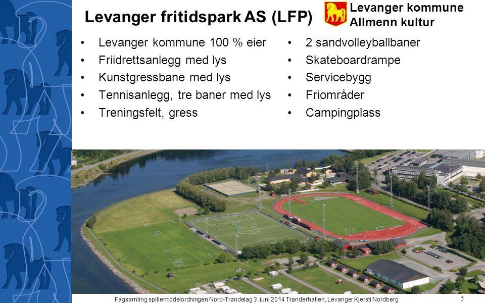 Levanger kommune Allmenn kultur Levanger fritidspark AS (LFP) Levanger kommune 100 % eier Friidrettsanlegg med lys Kunstgressbane med lys Tennisanlegg