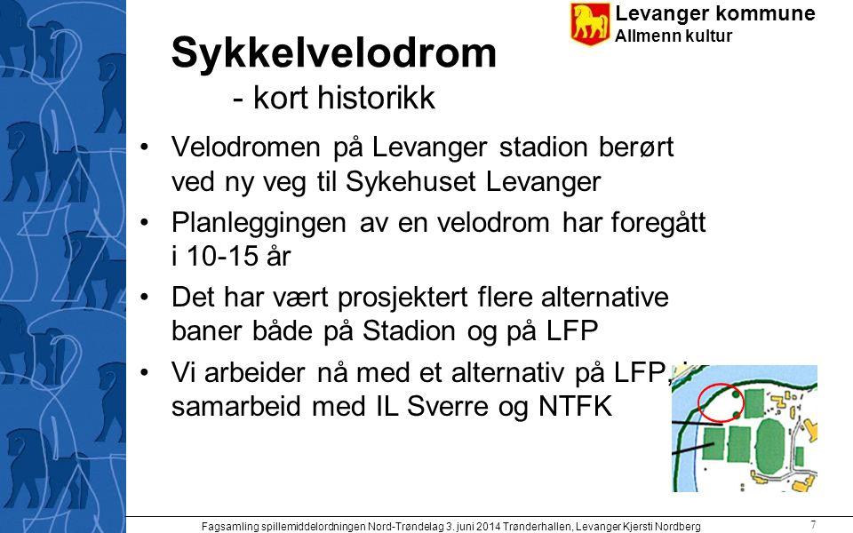 Levanger kommune Allmenn kultur Sykkelvelodrom - kort historikk Velodromen på Levanger stadion berørt ved ny veg til Sykehuset Levanger Planleggingen