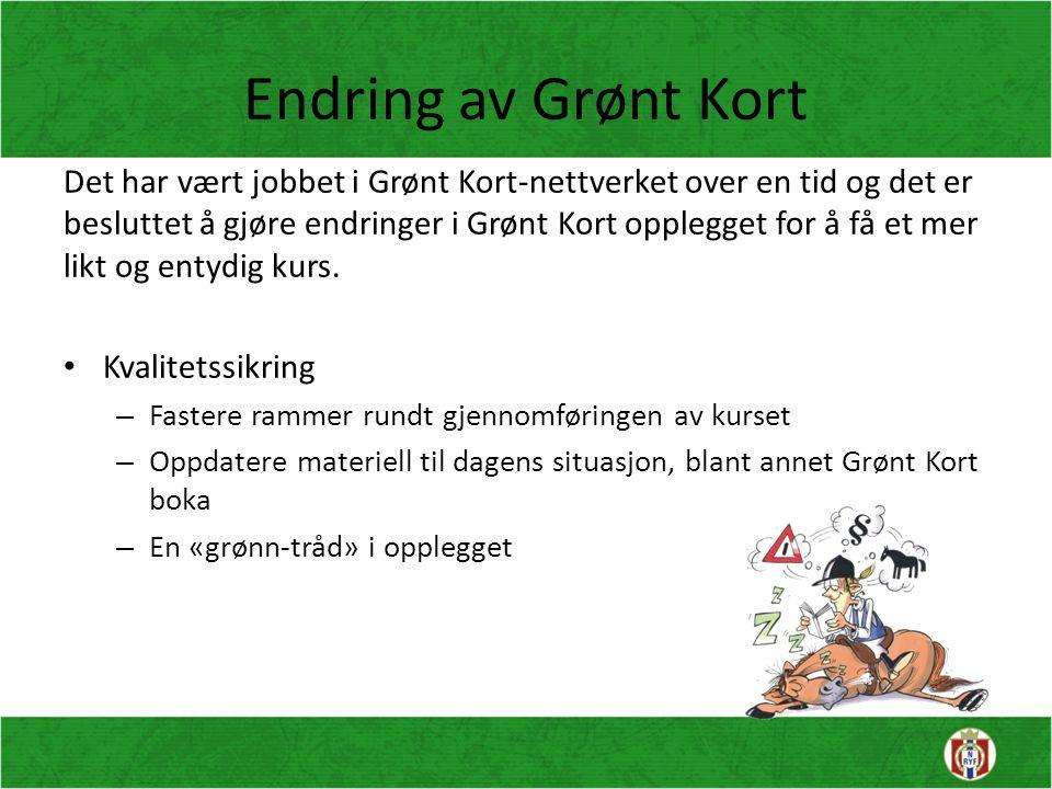 Endring av Grønt Kort Det har vært jobbet i Grønt Kort-nettverket over en tid og det er besluttet å gjøre endringer i Grønt Kort opplegget for å få et