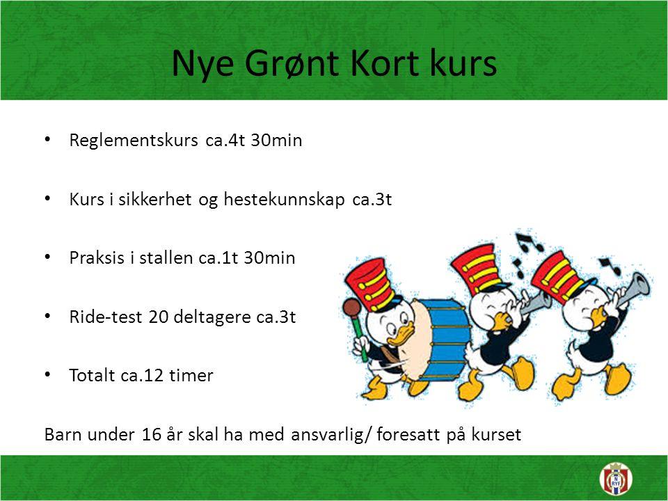 Nye Grønt Kort kurs Reglementskurs ca.4t 30min Kurs i sikkerhet og hestekunnskap ca.3t Praksis i stallen ca.1t 30min Ride-test 20 deltagere ca.3t Tota