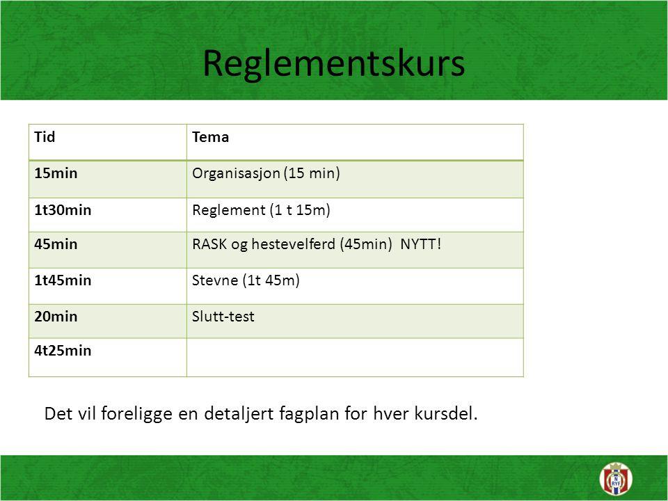 Reglementskurs TidTema 15minOrganisasjon (15 min) 1t30minReglement (1 t 15m) 45minRASK og hestevelferd (45min) NYTT! 1t45minStevne (1t 45m) 20minSlutt