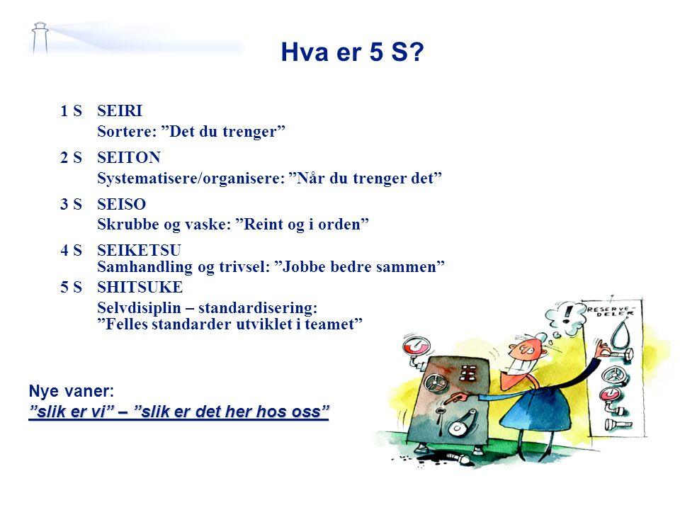 """Hva er 5 S? 1 SSEIRI Sortere: """"Det du trenger"""" 2 SSEITON Systematisere/organisere: """"Når du trenger det"""" 3 SSEISO Skrubbe og vaske: """"Reint og i orden"""""""