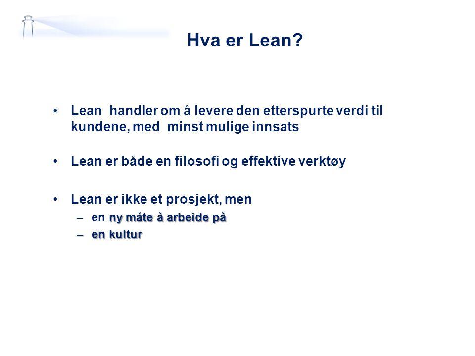 Hva er Lean? Lean handler om å levere den etterspurte verdi til kundene, med minst mulige innsats Lean er både en filosofi og effektive verktøy Lean e