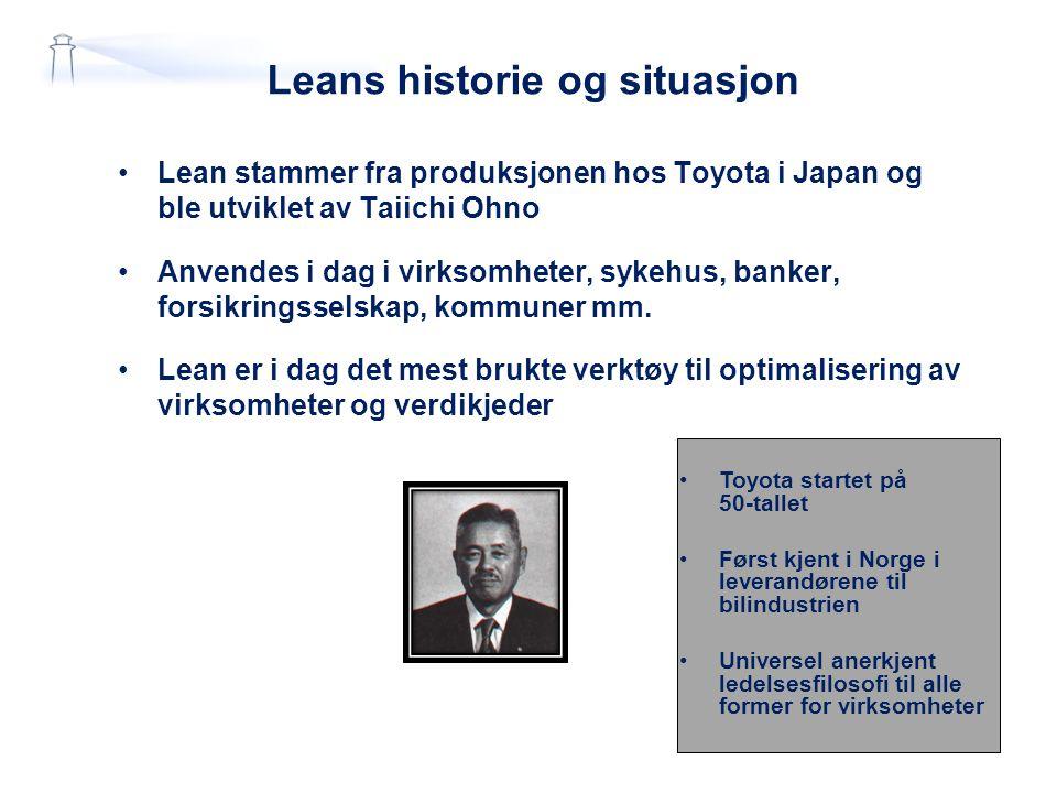 Leans historie og situasjon Lean stammer fra produksjonen hos Toyota i Japan og ble utviklet av Taiichi Ohno Anvendes i dag i virksomheter, sykehus, b