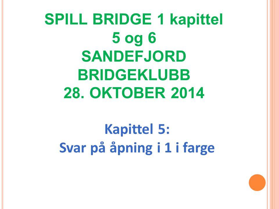 Kapittel 5: Svar på åpning i 1 i farge SPILL BRIDGE 1 kapittel 5 og 6 SANDEFJORD BRIDGEKLUBB 28.