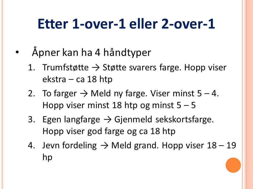 Etter 1-over-1 eller 2-over-1 Åpner kan ha 4 håndtyper 1.Trumfstøtte → Støtte svarers farge.