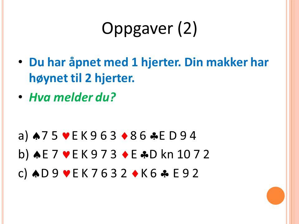 Oppgaver (2) Du har åpnet med 1 hjerter. Din makker har høynet til 2 hjerter.