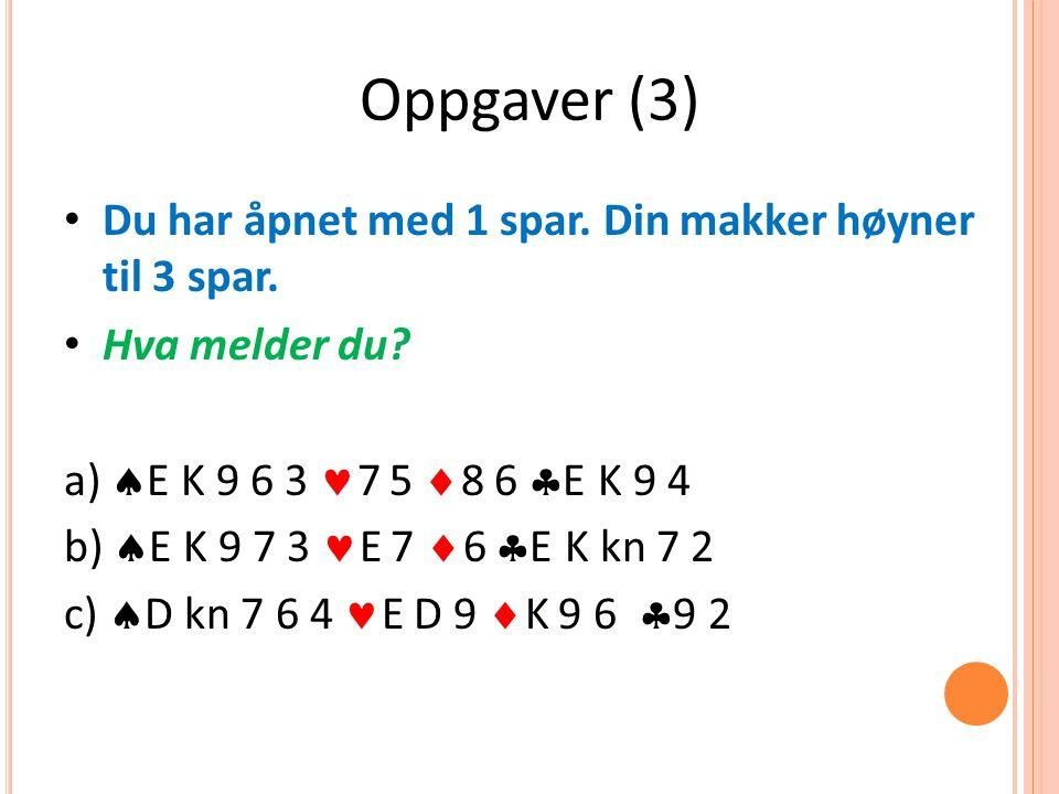 Oppgaver (3) Du har åpnet med 1 spar. Din makker høyner til 3 spar.