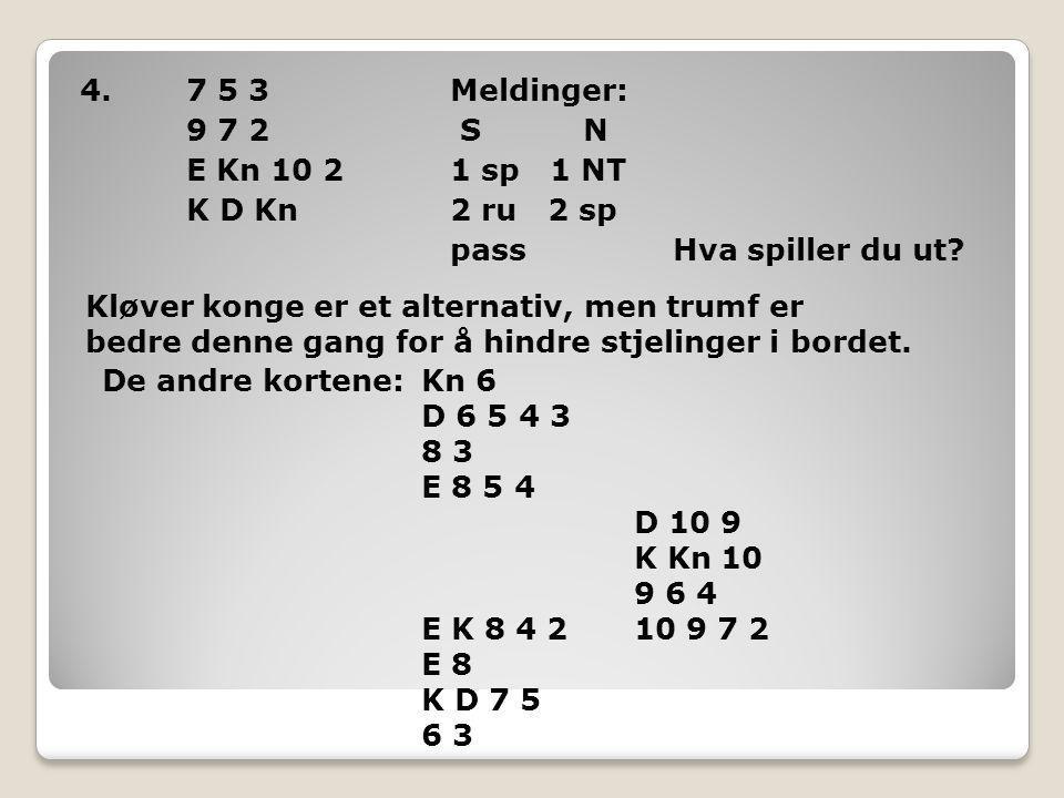 4.7 5 3 Meldinger: 9 7 2 S N E Kn 10 2 1 sp 1 NT K D Kn 2 ru 2 sp pass Hva spiller du ut.