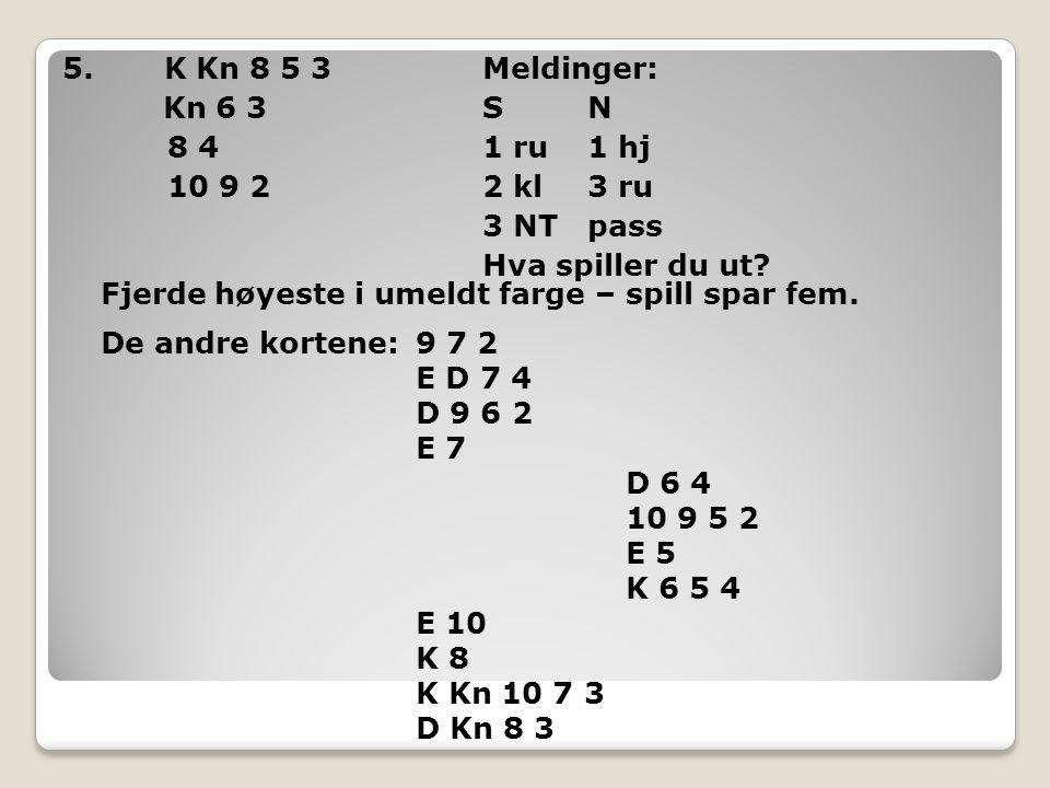 5. K Kn 8 5 3Meldinger: Kn 6 3SN 8 41 ru1 hj 10 9 22 kl3 ru 3 NT pass Hva spiller du ut? Fjerde høyeste i umeldt farge – spill spar fem. De andre kort