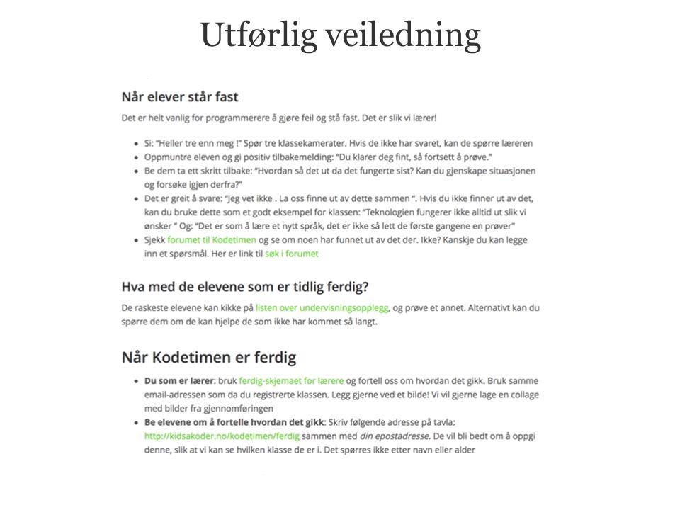 Gå til www.kidsakoder.no/kodetimen Informasjons- brosjyre Forslag til mailer Undervisnings- opplegg Veiledninger Forum Nyheter
