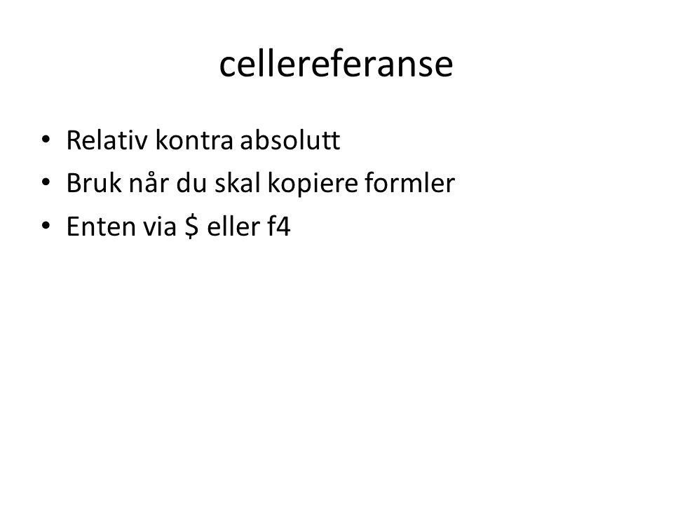 cellereferanse Relativ kontra absolutt Bruk når du skal kopiere formler Enten via $ eller f4